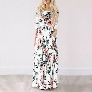 Floor Length Cotton White Floral Sundress